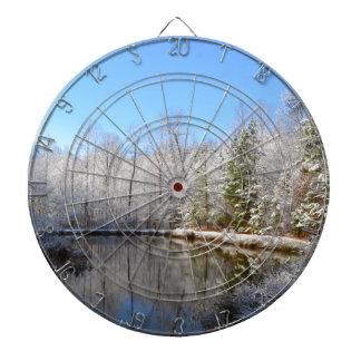 Schnee umfaßte Landschaft um den Teich Dartscheiben