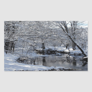 Schnee umfaßte Saco Fluss-glattes Aufkleber-Set Rechteckiger Aufkleber