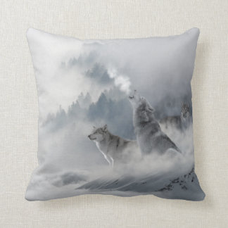 Schnee-Wolf-Druck Kissen