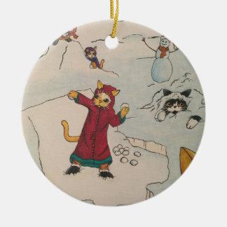 Schneeball-Kampf Rundes Keramik Ornament
