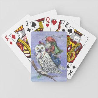 Schneeeule und Sankt-WEIHNACHTSSPIELKARTEN Poker Spielkarten