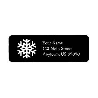 Schneeflocke-Adressen-Etikett B (Schwarzes)
