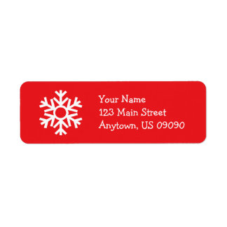 Schneeflocke-Adressen-Etikett C (rot) Rücksendeetiketten