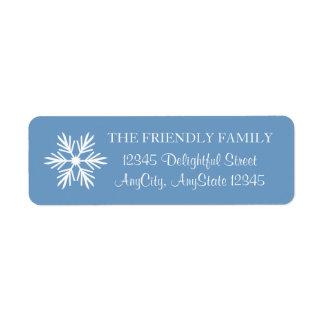 Schneeflocke, blau und Weiß, elegant Kleiner Adressaufkleber