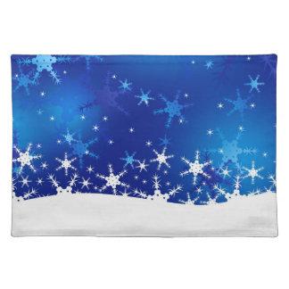 Schneeflocke-blaue frohe Weihnachten - Tischset
