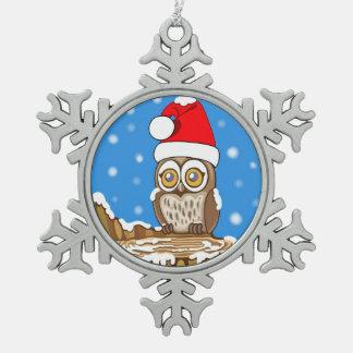 Schneeflocke die Eule Schneeflocken Zinn-Ornament