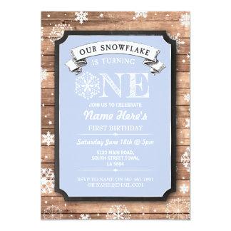 Schneeflocke-erster Geburtstags-blauer hölzerner 12,7 X 17,8 Cm Einladungskarte