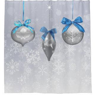 Schneeflocke-Feiertags-Verzierungen Duschvorhang