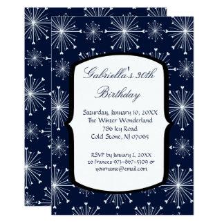 Schneeflocke-glühende 30. Geburtstags-Einladung Karte