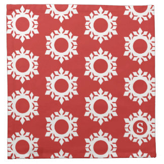 Schneeflocke-Muster-Monogramm-rote Stoff Serviette
