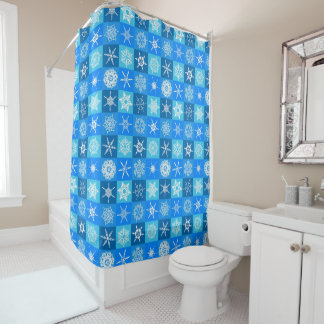 Schneeflocke-Quadrate auf Blau Duschvorhang
