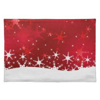 Schneeflocke-rote frohe Weihnachten - Tischset