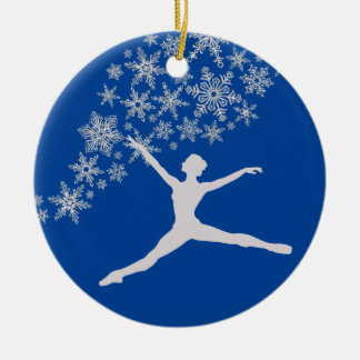 Schneeflocke-Tänzer-blaues personalisiertes Keramik Ornament