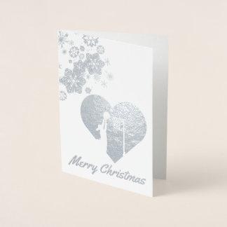Schneeflocke-Themanetball-Weihnachten Folienkarte