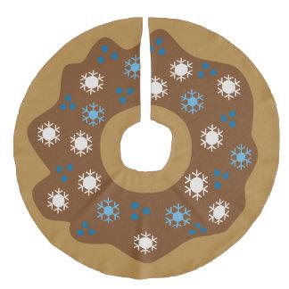 Schneeflocke-Weihnachtskrapfen-Blau besprüht Leinenimitat Weihnachtsbaumdecke