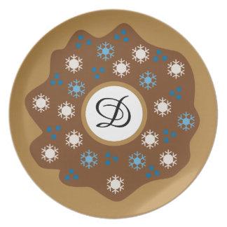 Schneeflocke-Weihnachtskrapfen-Blau besprüht Melaminteller