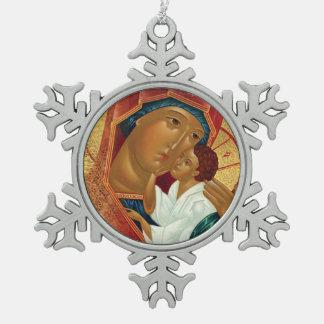 Schneeflocke-Weihnachtsverzierung mit orthodoxer Schneeflocken Zinn-Ornament