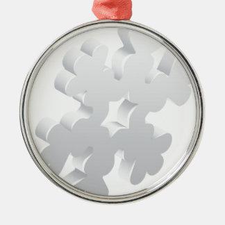 Schneeflocke-Wetter-Ikonen-Konzept Rundes Silberfarbenes Ornament
