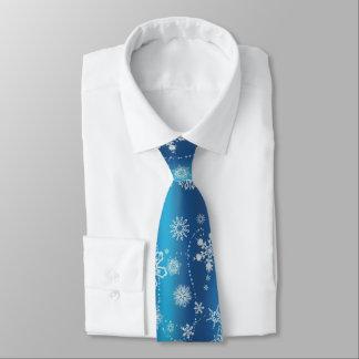 Schneeflocken auf Blau Bedruckte Krawatten