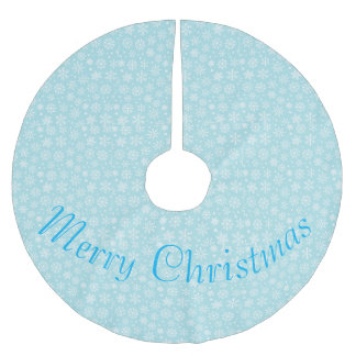 Schneeflocken auf blauem Baum-Rock Polyester Weihnachtsbaumdecke