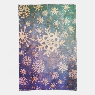 Schneeflocken auf blauer Denim-Krawatten-Küche Handtuch