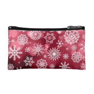 Schneeflocken auf einer Makeup-Tasche