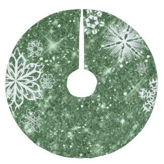 Schneeflocken auf Glitzer-Grün ID454 Polyester Weihnachtsbaumdecke