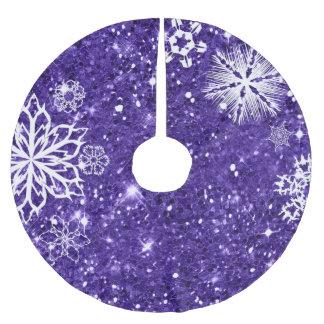 Schneeflocken auf Glitzer lila ID454 Polyester Weihnachtsbaumdecke