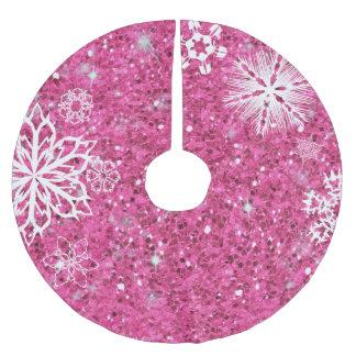 Schneeflocken auf Glitzer-Rosa ID454 Polyester Weihnachtsbaumdecke
