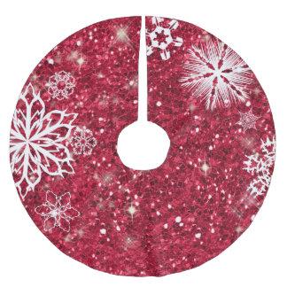 Schneeflocken auf Glitzer rotes ID454 Polyester Weihnachtsbaumdecke
