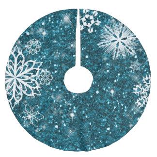 Schneeflocken auf Glitzer-Türkis ID454 Polyester Weihnachtsbaumdecke