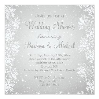 Schneeflocken auf grauem Hintergrund Polterabend Quadratische 13,3 Cm Einladungskarte