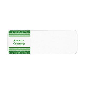 Schneeflocken auf Grün Rücksendeetiketten