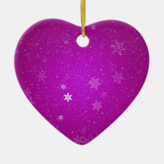 Schneeflocken auf lila Glitzern Keramik Herz-Ornament