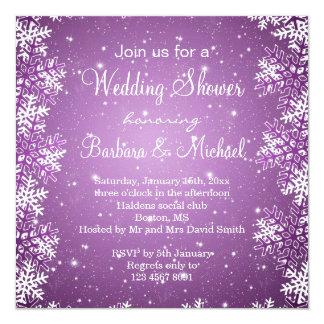 Schneeflocken auf lila Hintergrund Polterabend Quadratische 13,3 Cm Einladungskarte