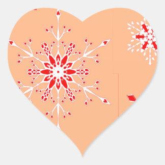 Schneeflocken Herz-Aufkleber