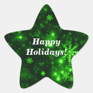 Schneeflocken mit grünen  Stern-Aufkleber