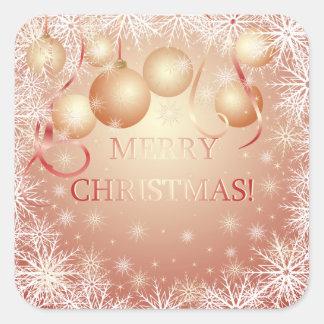 Schneeflocken u. goldene Weihnachtsbälle auf Quadratischer Aufkleber
