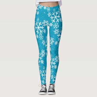 Schneeflocken u. Sterne auf (Ihre Farbe) Leggings