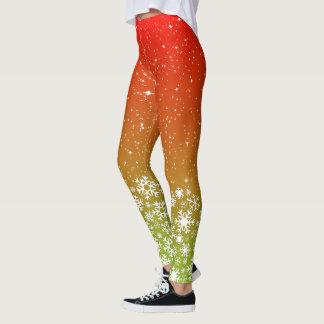 Schneeflocken u. Sterne auf roter grüner Steigung Leggings
