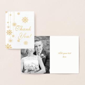 Schneeflockewinterhochzeit danken Ihnen Fotogold Folienkarte