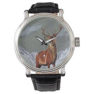 Schneehirsch Armbanduhr