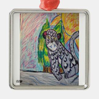 Schneeleopard 4 quadratisches silberfarbenes ornament