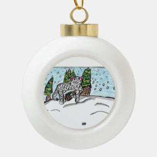 Schneeleopard vier keramik Kugel-Ornament