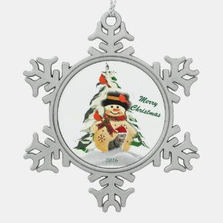 Schneemann-Andenken-Zinn-Schneeflocke-Verzierung Schneeflocken Zinn-Ornament