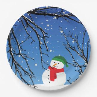 Schneemann auf einer Kälte, Snowy-Tag Pappteller