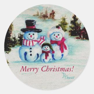 Schneemann-Familien-frohe Weihnacht-Aufkleber Runder Aufkleber