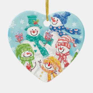 Schneemann-Familien-Weihnachtsverzierungen Keramik Ornament
