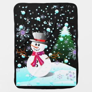 Schneemann-frohe Weihnachten Baby-Decke