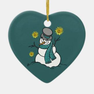 Schneemann-Hoffnungs-Verzierung Keramik Herz-Ornament